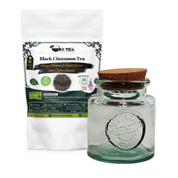 Black cinnamon tea with glass jar