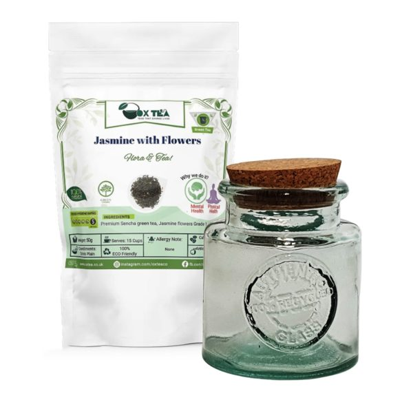 Jasmine with flowers Green Tea With Glass Jar