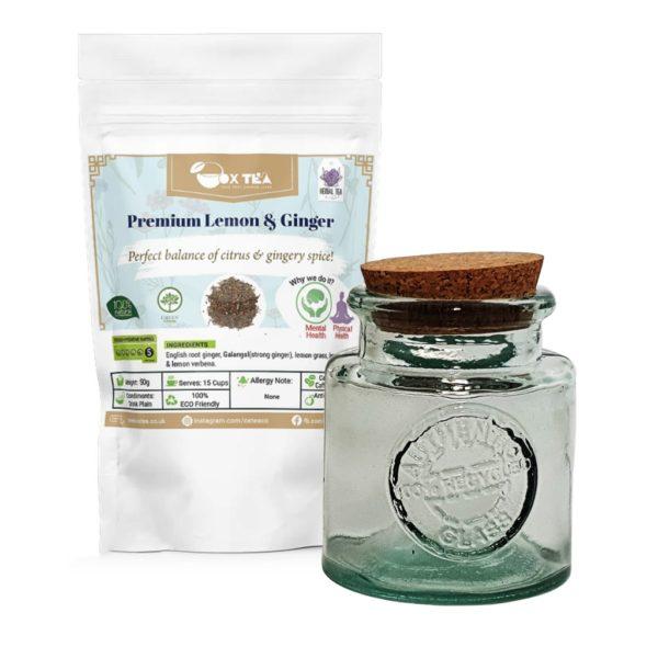 Premium Lemon & Ginger Tea With Glass Jar