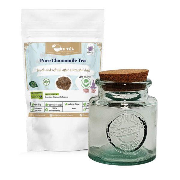 Pure Chamomile Tea With Glass Jar