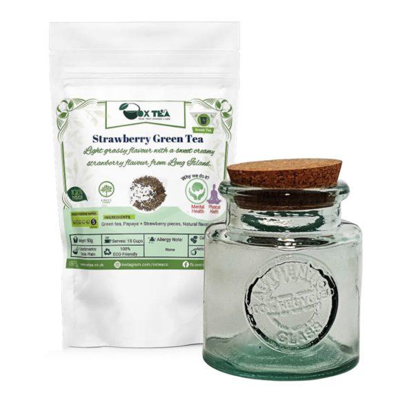 Strawberry Green Tea With Glass Jar