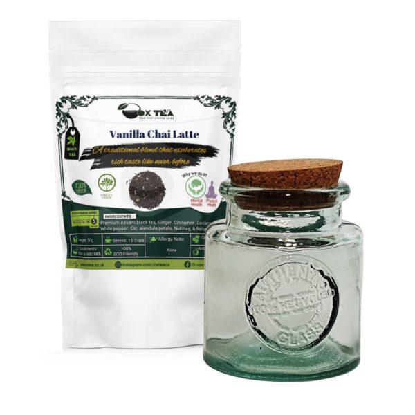 Vanilla Chai Latte With Glass Jar