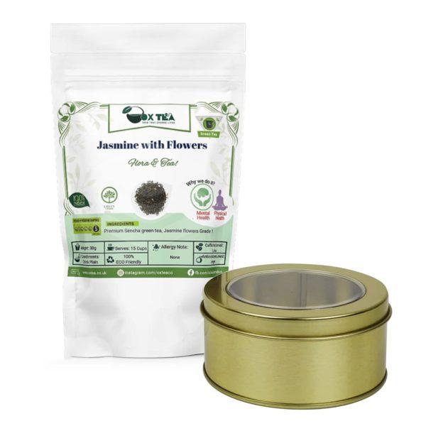 Jasmine with flowers Green Tea With Tin Box