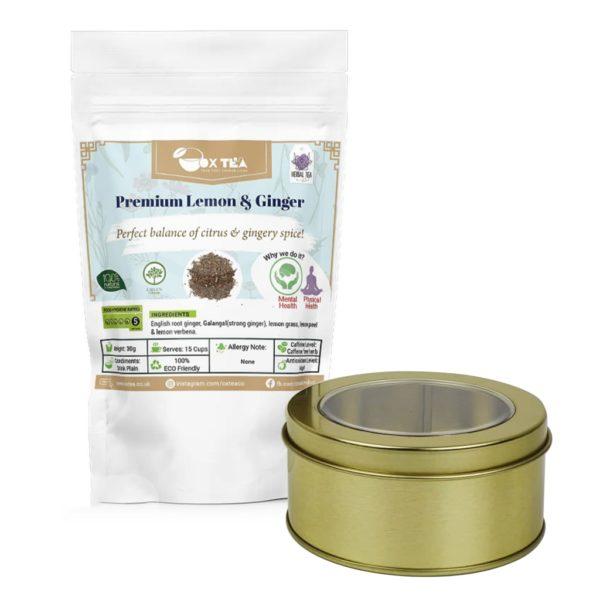 Premium Lemon & Ginger Tea With Tin Box