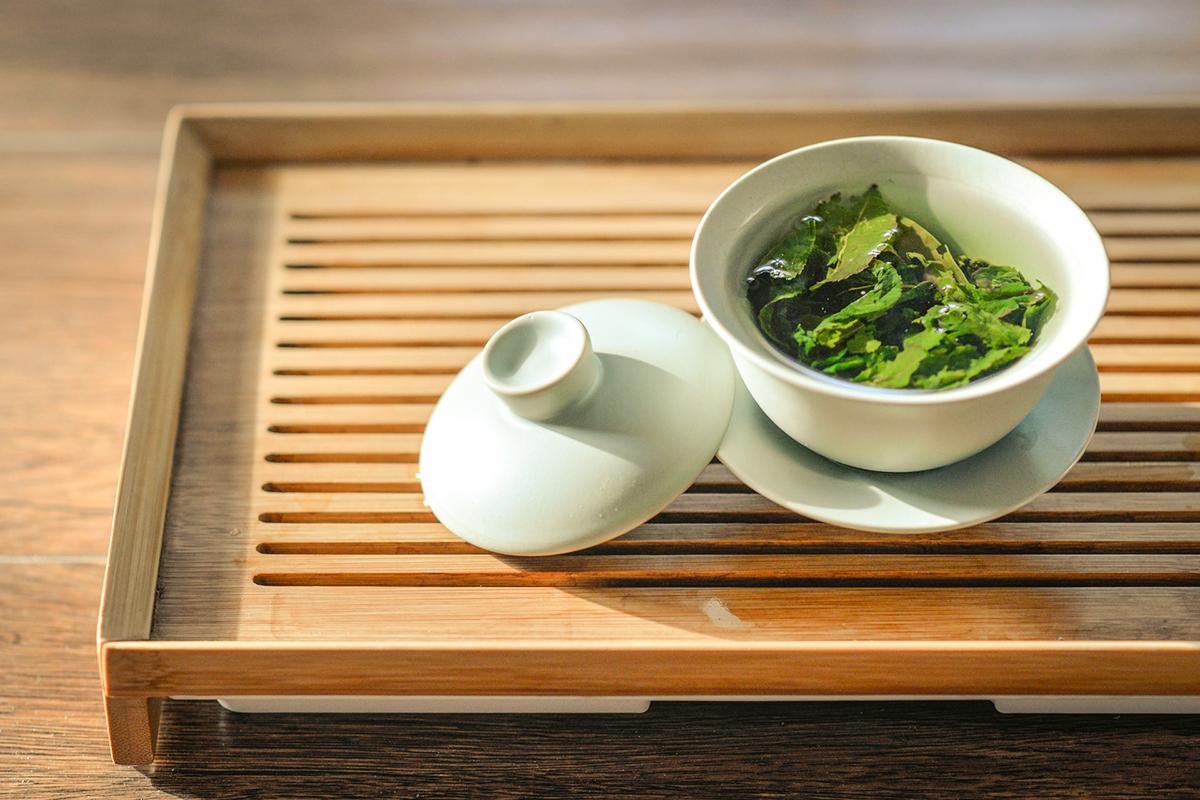 Loose green tea leaves